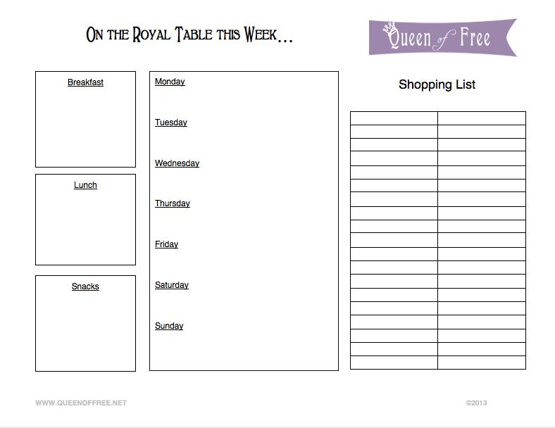 graphic regarding Printable Menu named Free of charge Printable Menu Planner Grocery Record - Queen of No cost