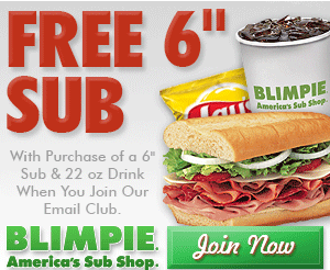 Coupon for FREE Blimpie Sub