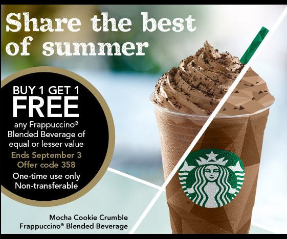 Grab a coupon good for B1G1 Free Frappuccinos at Starbucks now through Sept 3