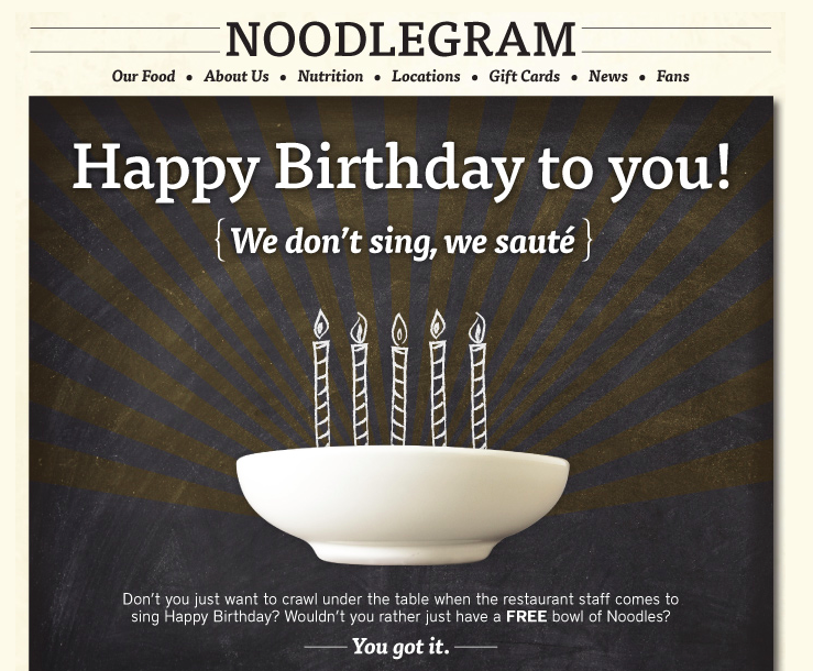 photograph regarding Noodles and Company Printable Menu named Birthday Freebie: Totally free Bowl of noodles against Noodles