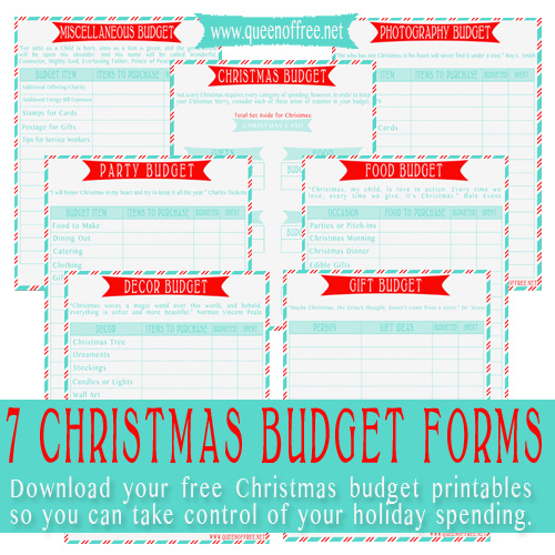 Don't Go Over Budget This Christmas! Use these 7 FREE Printable Forms to guide your spending.