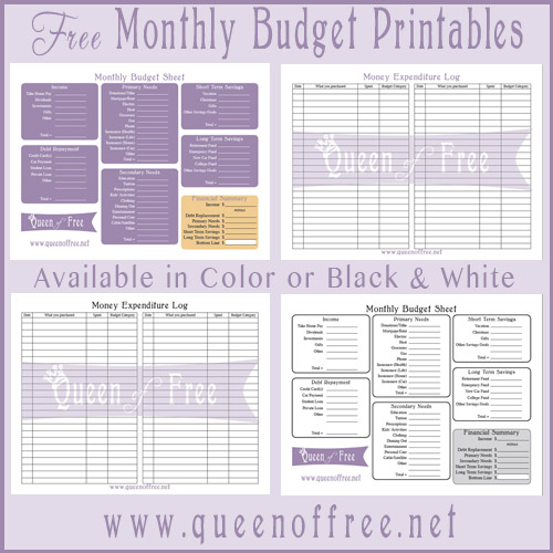 FREE Printable Budget Forms Queen of Free – Free Printable Monthly Budget Worksheets