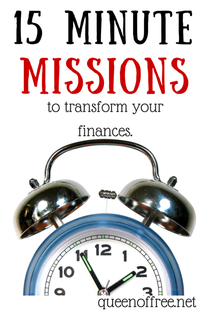 You can organize your finances in 15 minutes a day! Check out these five missions to help you save money and pay off debt.