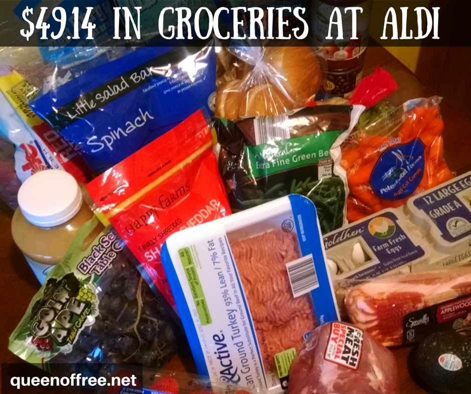 Check out all of the groceries you can buy at ALDI for less than $50. This meal plan will fix 7 meals for a family of 4!