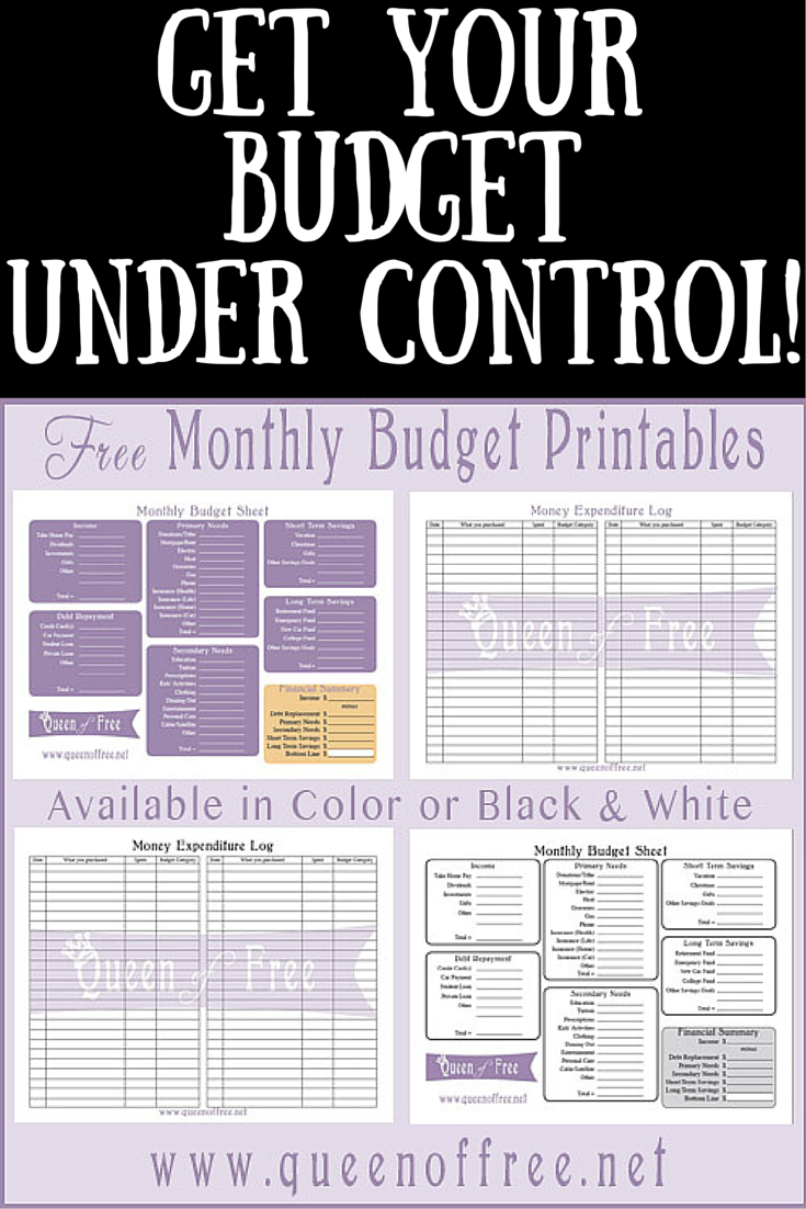 photograph relating to Free Printable Budget Sheets identified as Cost-free Printable Spending plan Worksheet - Queen of No cost