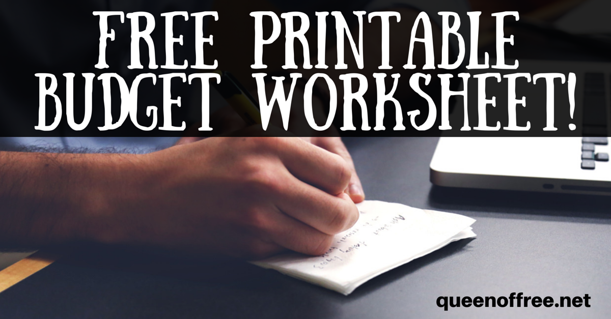 free printable budget worksheet queen of free