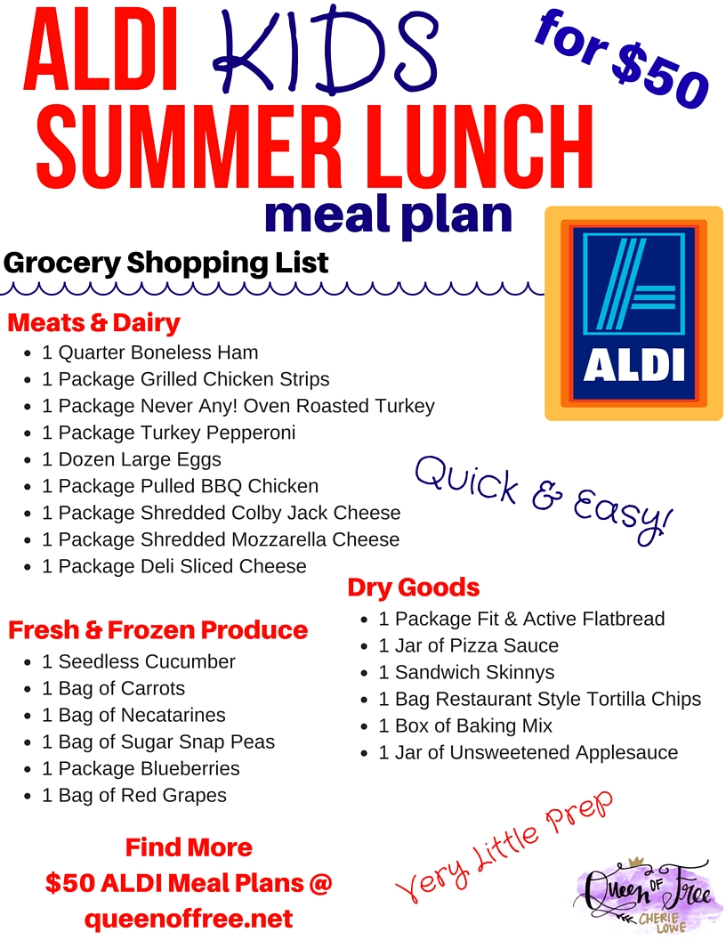 $50 aldi summer lunches for kids meal plan - queen of free