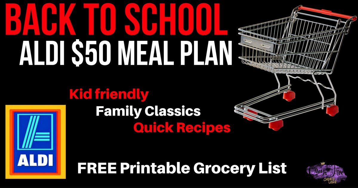 What? 5 Dinners and a HUGE brunch for less than $50? Check out an ALDI Back to School Meal Plan with quick ideas, a free printable grocery list, and more!