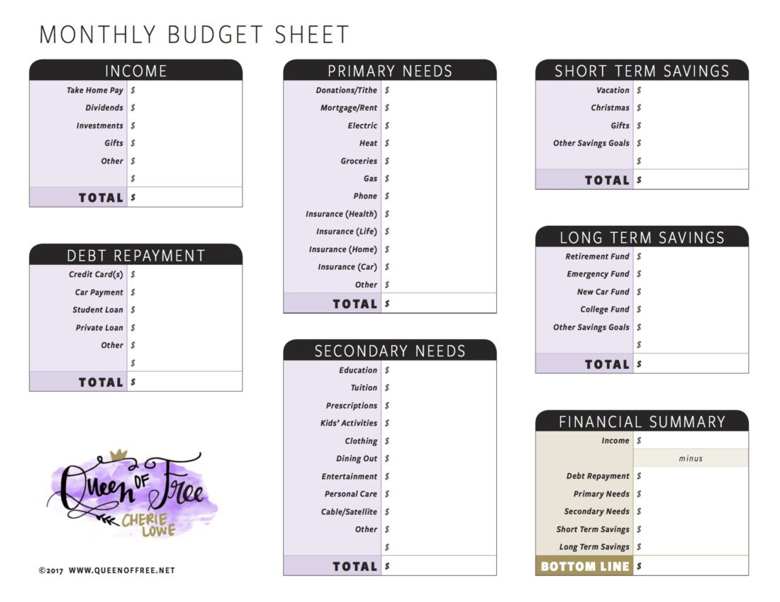 check out these awesome free printable budget forms you