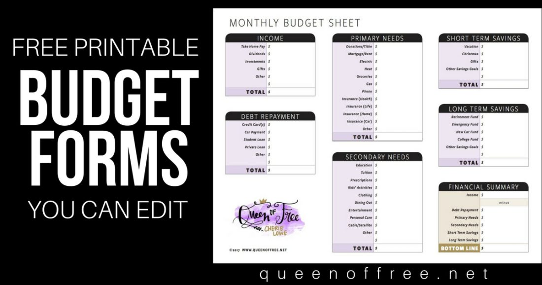 Whip your finances into shape today! Check out these awesome FREE Printable Budget Forms You Can Edit to begin your journey.