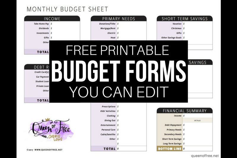 All New: FREE Printable Budget Forms You Can Edit
