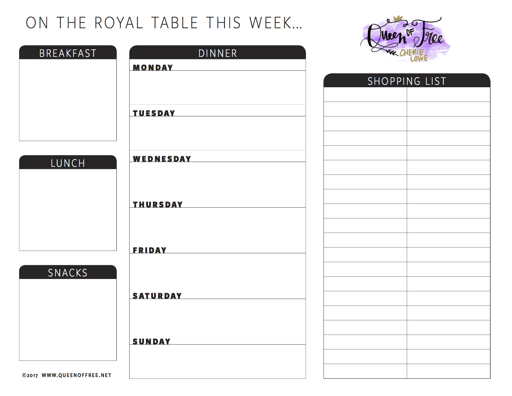 photograph about Free Printable Weekly Meal Planner called All Refreshing: No cost Printable Evening meal Planner Your self Can Edit - Queen of