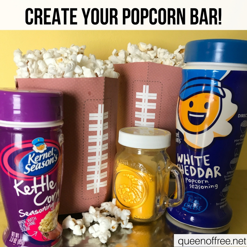 WOW! A Popcorn Bar is a hit for Super Bowl fun. Check out the recipe plus three other quick, affordable, & easy ideas.