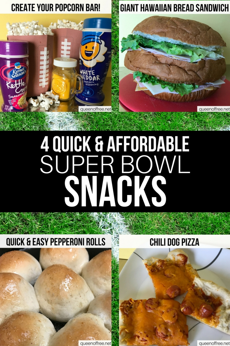 WOW! 4 Quick, Easy, and Affordable Super Bowl Snacks for your party this year. Check out this post for recipes and ideas.