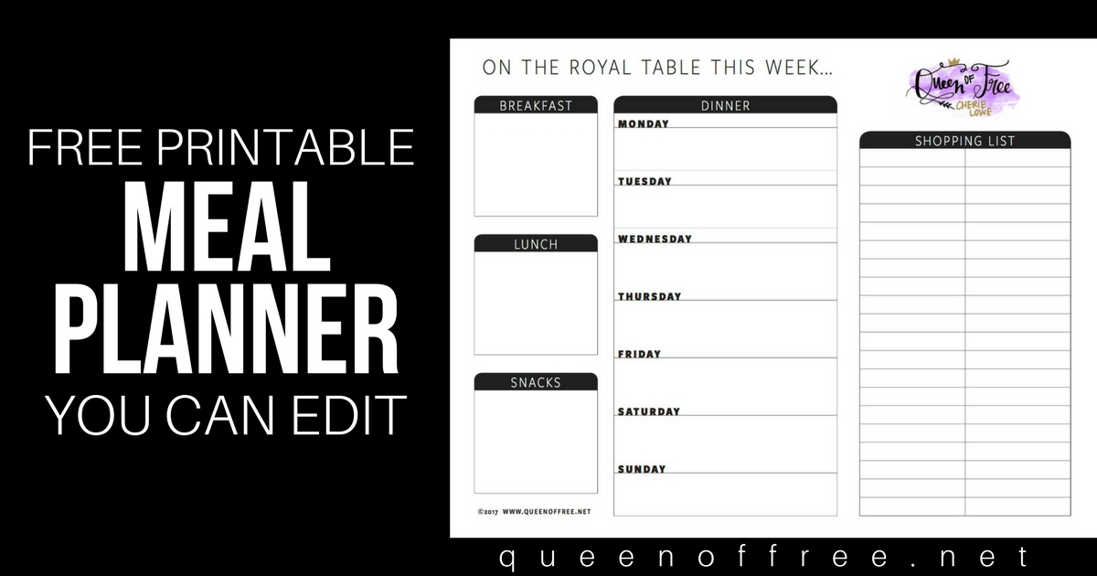 All New: FREE Printable Meal Planner You Can Edit - Queen ...